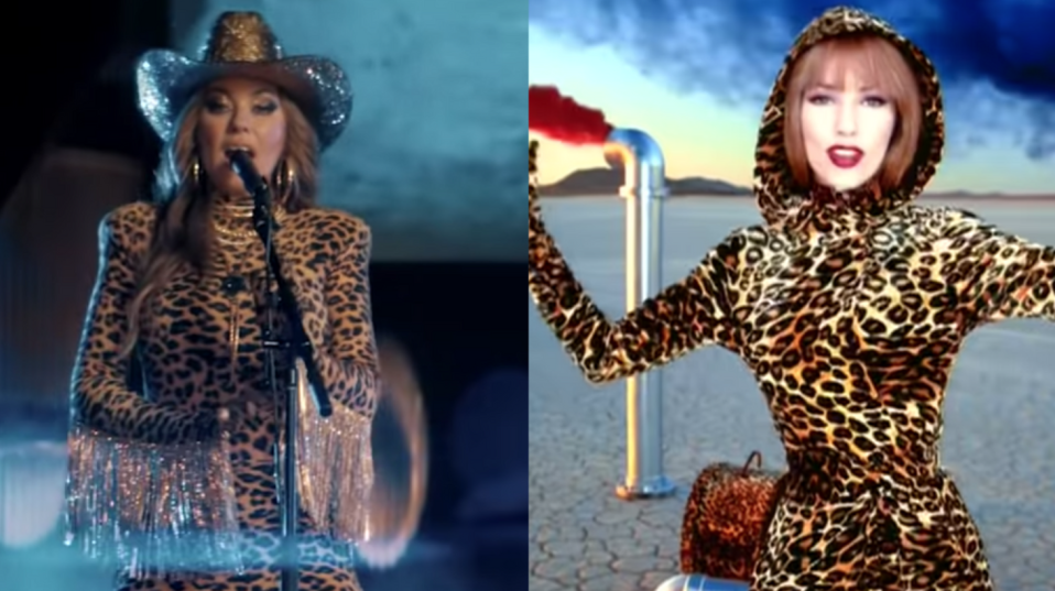 Shania Twain wearing her infamous leopard looks. Images via Vevo/YouTube.