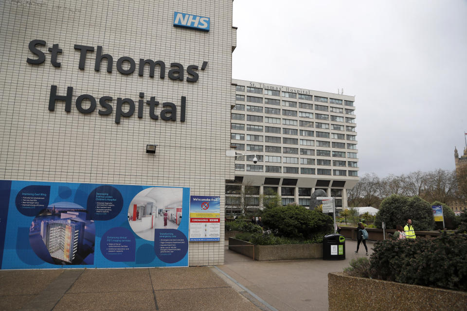 A view of St Thomas' Hospital in Westminster where Britain's Prime Minister Boris Johnson is undergoing tests after suffering from coronavirus symptoms, in London, Monday, April 6, 2020. British Prime Minister Boris Johnson has been admitted to a hospital with the coronavirus. Johnson's office says he is being admitted for tests because he still has symptoms 10 days after testing positive for the virus. (AP Photo/Frank Augstein)