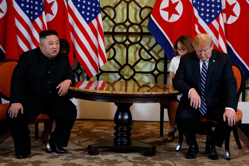 President Donald Trump meets North Korean leader Kim Jong Un on Thursday, February 28, 2019 in Hanoi. (AP Photo / Evan Vucci)