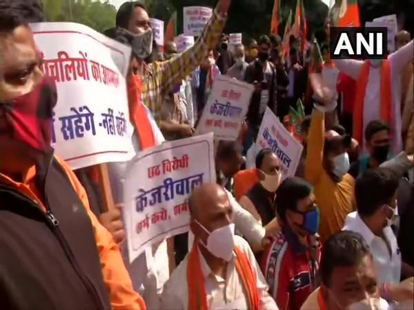 BJP members protest near CM residence in Delhi on Tuesday. (Photo/ANI)