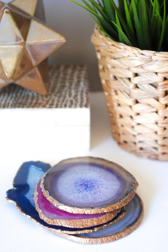 """<p>Trendy agate gets a metallic accent in this surprisingly easy project. Plus, the set will make up for all the times you didn't use a coaster growing up. </p><p><em><a href=""""http://makinglemonadeblog.com/how-to-make-gilded-edge-agate-coasters/"""" rel=""""nofollow noopener"""" target=""""_blank"""" data-ylk=""""slk:Get the tutorial at Making Lemonade »"""" class=""""link rapid-noclick-resp"""">Get the tutorial at Making Lemonade »</a></em><br></p>"""