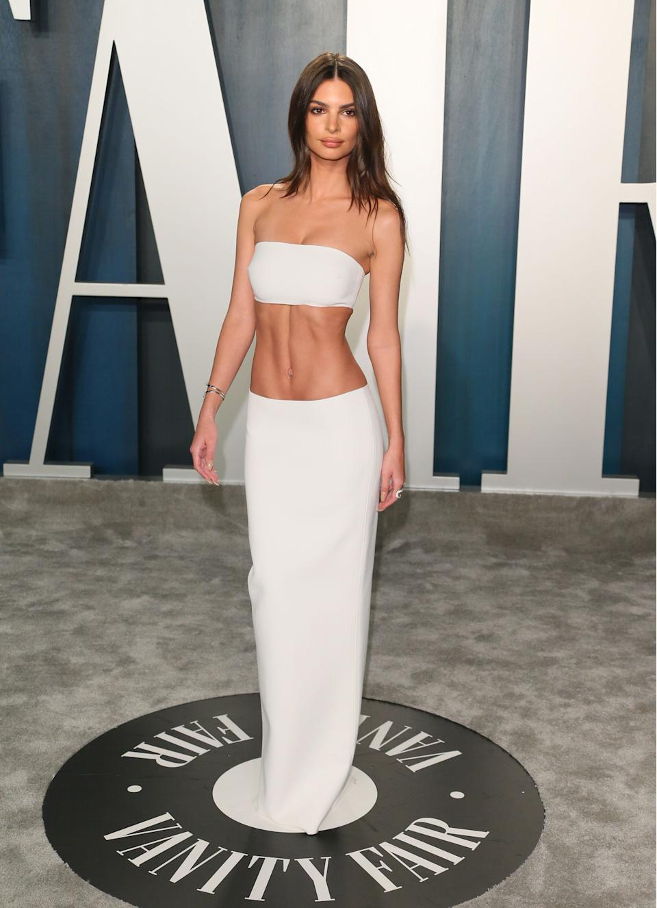 Emily Ratajkowski at the 2020 Vanity Fair Oscar Party following the 92nd Oscars. (Getty Images)