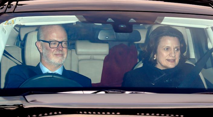 LONDON, UNITED KINGDOM - DECEMBER 20: (EMBARGOED FOR PUBLICATION IN UK NEWSPAPERS UNTIL 48 HOURS AFTER CREATE DATE AND TIME) George Windsor, Earl of St Andrews and Sylvana Palma Windsor, Countess of St Andrews attend a Christmas lunch for members of the Royal Family hosted by Queen Elizabeth II at Buckingham Palace on December 20, 2016 in London, England. (Photo by Max Mumby/Indigo/Getty Images)