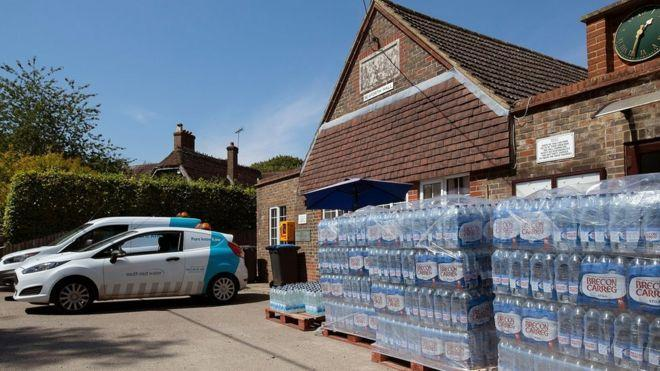 Households in Sussex were given water bottles to deal with the cut in supply. (South East Water)