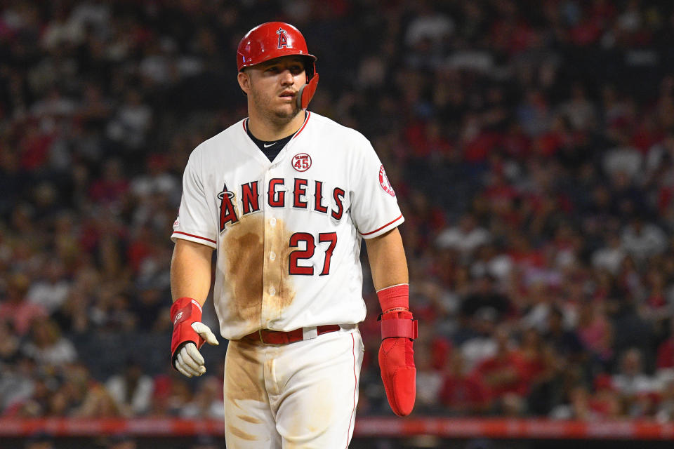 ANAHEIM, CA - AUGUST 31: Los Angeles Angels center fielder Mike Trout (27) looks on during a MLB game between the Boston Red Sox and the Los Angeles Angels of Anaheim on August 31, 2019 at Angel Stadium of Anaheim in Anaheim, CA. (Photo by Brian Rothmuller/Icon Sportswire via Getty Images)