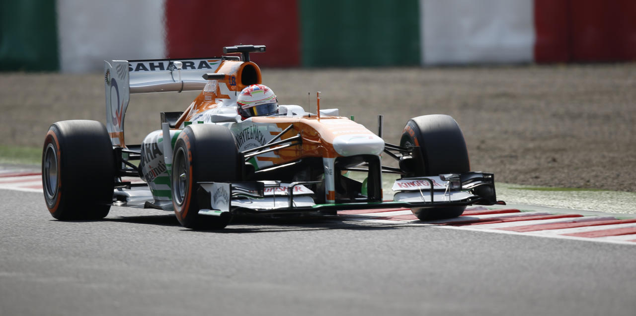 Force India Formula One driver Paul di Resta of Britain drives during the third practice session of the Japanese F1 Grand Prix at the Suzuka circuit October 12, 2013. REUTERS/Toru Hanai (JAPAN - Tags: SPORT MOTORSPORT F1)