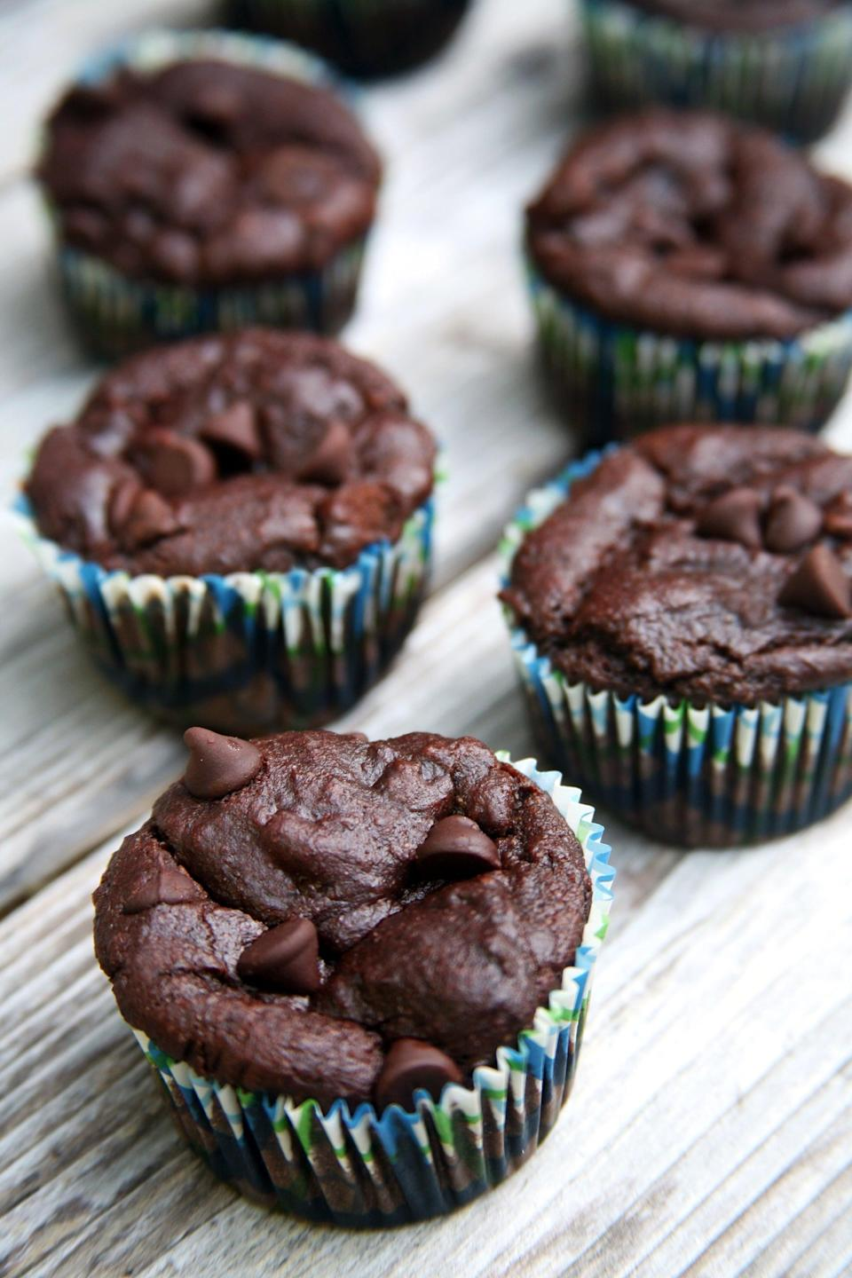 "<p>Give your overripe bananas a second life with these protein-packed chocolate muffins - the perfect solution for your morning sweet tooth.</p> <p><strong>Calories:</strong> 130 per muffin<br> <strong>Protein:</strong> 5.5 grams</p> <p><strong>Get the recipe:</strong> <a href=""https://www.popsugar.com/fitness/Dairy-Free-Chocolate-Banana-Bread-42199657"" class=""link rapid-noclick-resp"" rel=""nofollow noopener"" target=""_blank"" data-ylk=""slk:chocolate banana protein muffins"">chocolate banana protein muffins</a></p>"
