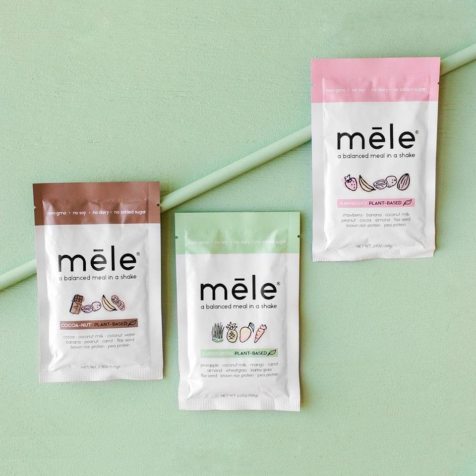 """<h3>M <strong>ē</strong> le Plant-Based 3-Pack Starter</h3><p>""""We're all about back to the basics [in terms of ingredients], and we wanted clean labeling so the consumer will know exactly what they're getting,"""" Mēle (pronounced """"meal"""") co-founder Elise Tresley tells <em>Refinery29</em>. The whey- and plant-based smoothie powders — available in three flavors — are nutritious, affordable, and <em>actually</em> yummy. Best of all, the mission-driven business regularly donates to the <a href=""""https://www.foodbanknyc.org/"""" rel=""""nofollow noopener"""" target=""""_blank"""" data-ylk=""""slk:Food Bank for NYC"""" class=""""link rapid-noclick-resp"""">Food Bank for NYC</a>, the city's largest hunger-relief organization.</p><br><br><strong>Mēle</strong> PLANT-BASED 3-pack starter, $15, available at <a href=""""https://www.meleshake.com/collections/plant-based/products/mele-plant-based-starter"""" rel=""""nofollow noopener"""" target=""""_blank"""" data-ylk=""""slk:Mēle"""" class=""""link rapid-noclick-resp"""">Mēle</a>"""