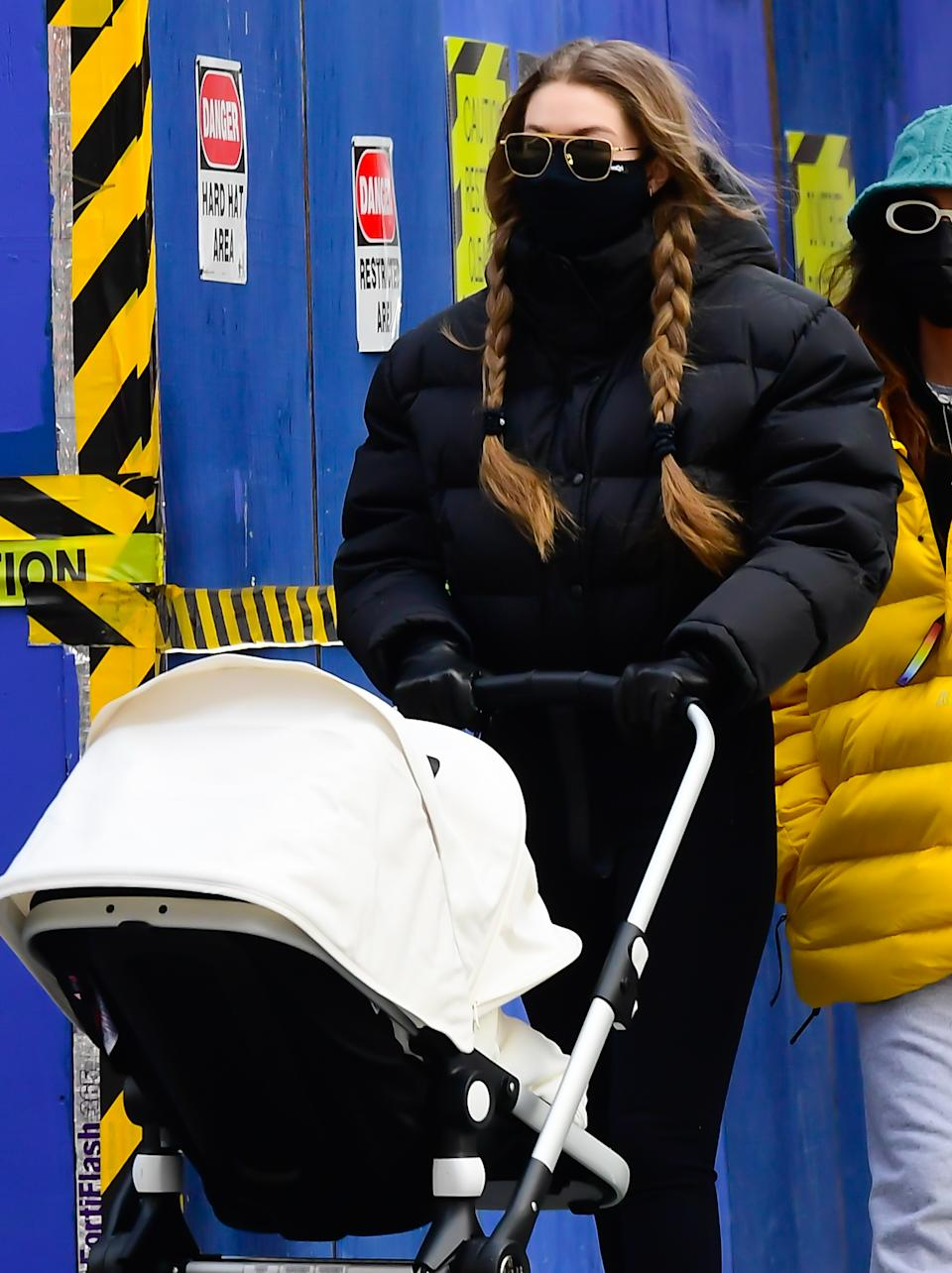 Gigi Hadid in New York City on Jan. 11 wearing MasQd Ultra Sport Mask.  (Photo by Raymond Hall/GC Images)