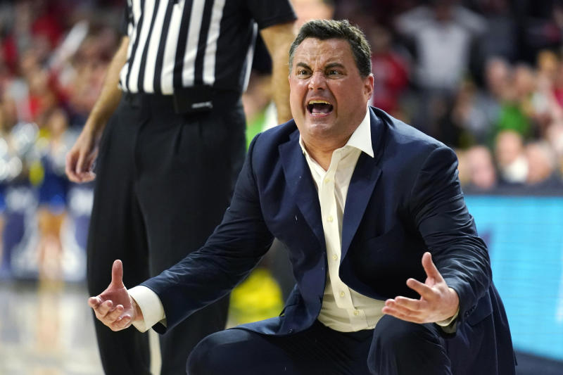 Arizona coach Sean Miller reacts after a foul call during the second half of the team's NCAA college basketball game against Oregon on Saturday, Feb. 22, 2020, in Tucson, Ariz. Oregon won 73-72 in overtime. (AP Photo/Rick Scuteri)