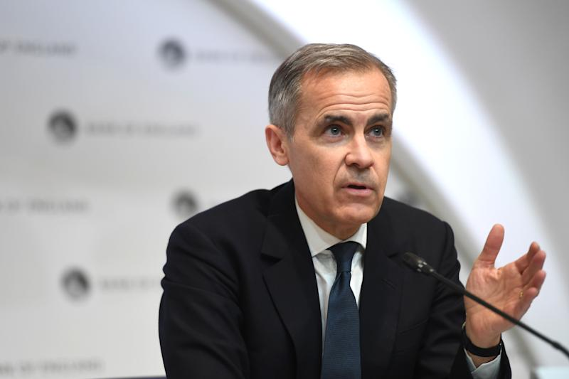 Out-going Governor of the Bank of England (BOE) Mark Carney speaks during a news conference at Bank Of England in London on March 11, 2020, after the central bank announced a cut in interest rates. - The Bank of England on March 11 slashed its main interest rate to 0.25 percent in an emergency move to combat the economic fallout from the coronavirus outbreak on the UK economy. (Photo by Peter Summers / POOL / AFP) (Photo by PETER SUMMERS/POOL/AFP via Getty Images)