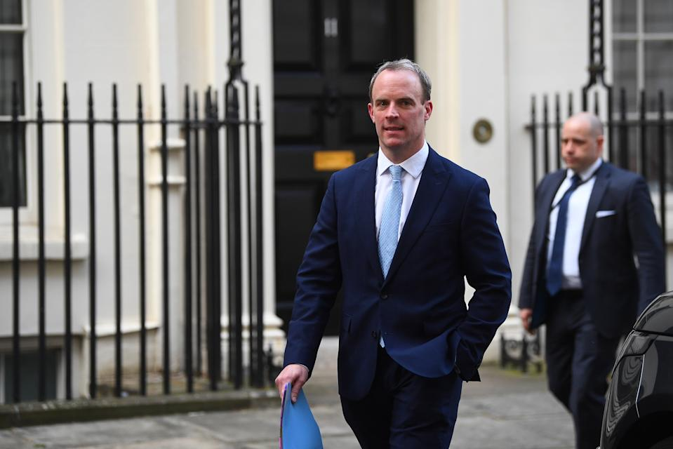 Foreign Secretary Dominic Raab in Downing Street, London, after giving the daily media briefing on coronavirus (COVID-19).
