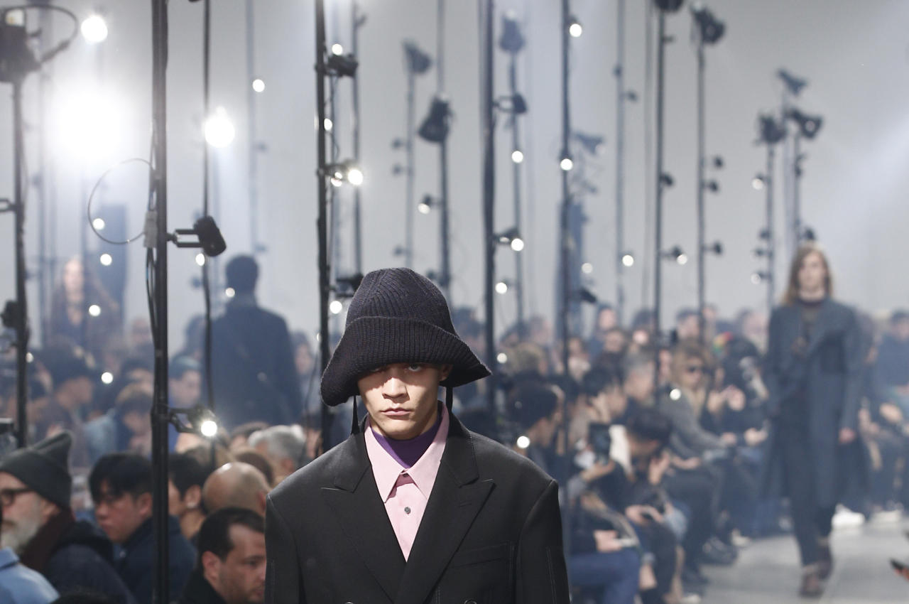 A model wears a creation for the Lanvin men's Fall-Winter 2018/2019 fashion collection presented in Paris, Sunday, Jan. 21, 2018. (AP Photo/Thibault Camus)