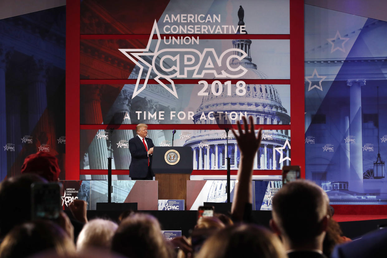 President Trump arrives to speak to the Conservative Political Action Conference (CPAC) at National Harbor, Md., Feb. 23, 2018. (Photo: Jacquelyn Martin/AP)