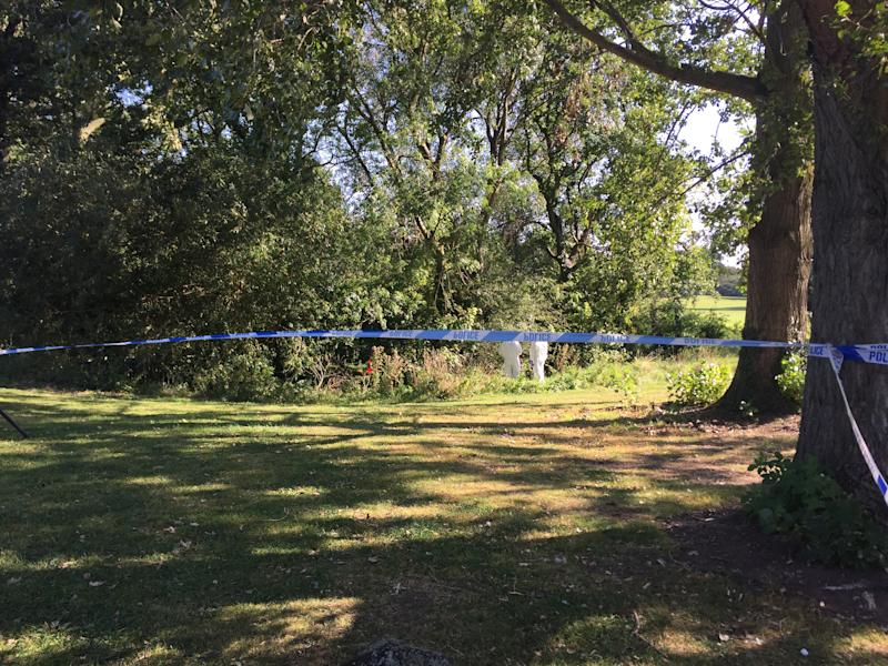 A police cordon in Wigginton Park, Tamworth, Staffordshire, where a 19-year-old woman died on Thursday evening.