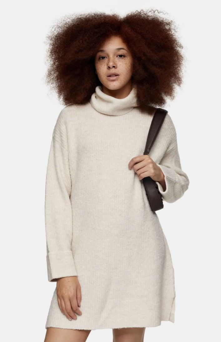 <p>This <span>Topshop Funnel Neck Sweater Dress</span> ($45, originally $75) is an incredibly stylish deal.</p>