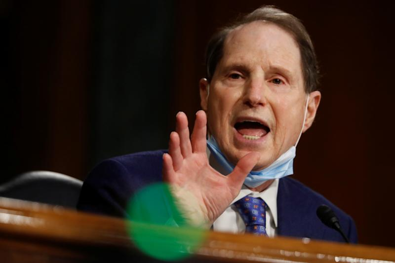 U.S. Sen. Sen. Ron Wyden (D-OR) speaks during a Senate Intelligence Committee nomination hearing for Rep. John Ratcliffe (R-TX), on Capitol Hill in Washington, U.S., May 5, 2020. Andrew Harnik/Pool via REUTERS