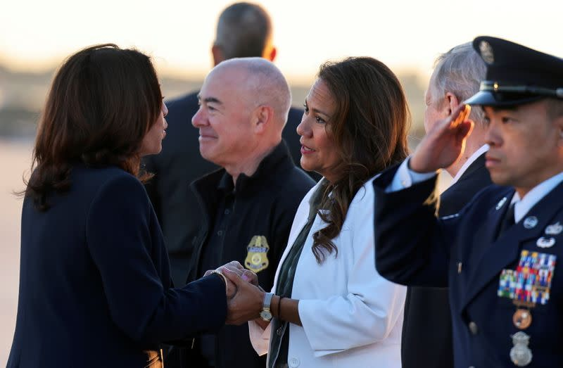 U.S. Vice President Kamala Harris boards Air Force Two to travel to El Paso, Texas