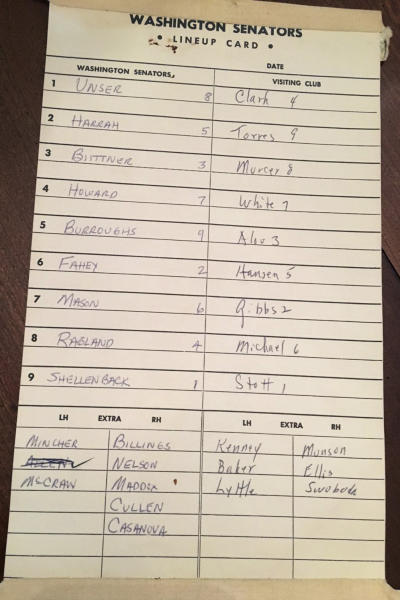 This is the lineup card that hung in the Washington Senators dugout on Sept. 29, 1971, for a baseball game against the New York Yankees at RFK Stadium in Washington, shown in New York Tuesday, Oct. 15, 2019. Ben Walker's favorite Washington Nationals player, back in the day, Del Unser, top left. (AP Photo/Ben Walker)