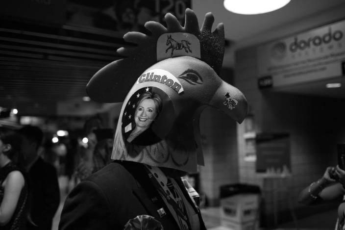 <p>A supporter of Hillary Clinton wears a rooster hat prior to the start of the Tuesday program at the Democratic National Convention in Philadelphia, PA. on July 26, 2016. (Photo: Khue Bui for Yahoo News)</p>