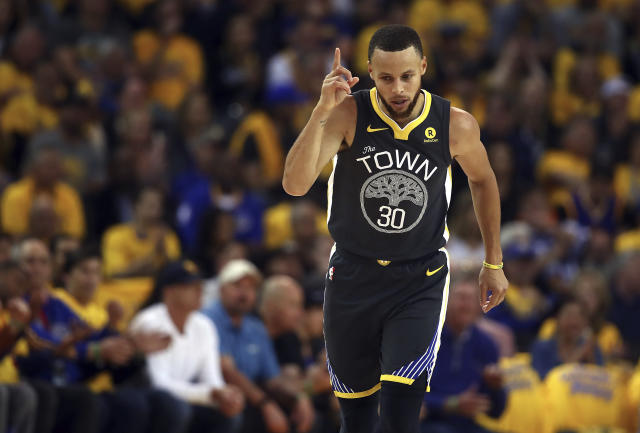 Stephen Curry led the Warriors off the bench in a tough Game 2 win over the Pelicans after missing 16 games win an MCL sprain.  (AP)