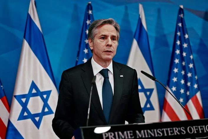 US Secretary of State Antony Blinken speaks during a joint press conference with Israel's prime minister in Jerusalem on May 25