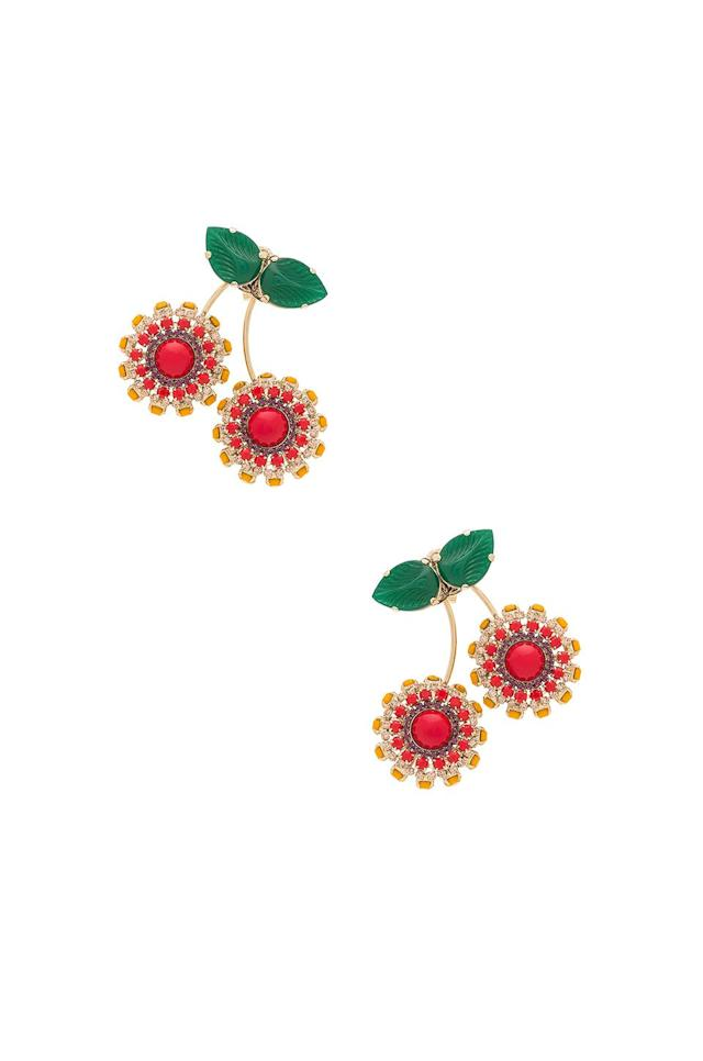 "<p>Anton Heunis Cherry Earrings, $290, <a href=""https://www.polyvore.com/anton_heunis_cherry_earring/thing?id=209697407"" rel=""nofollow noopener"" target=""_blank"" data-ylk=""slk:revolve.com"" class=""link rapid-noclick-resp"">revolve.com</a><br><br></p>"