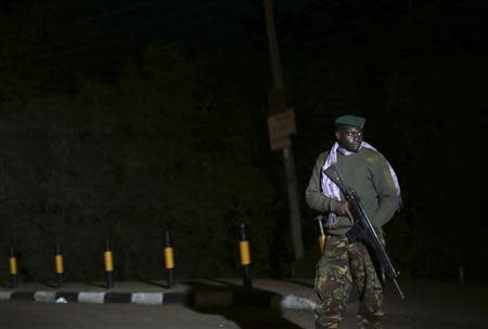 A Kenyan soldier holds his rifle near the Westgate shopping centre in Nairobi September 23, 2013. REUTERS/Karel Prinsloo