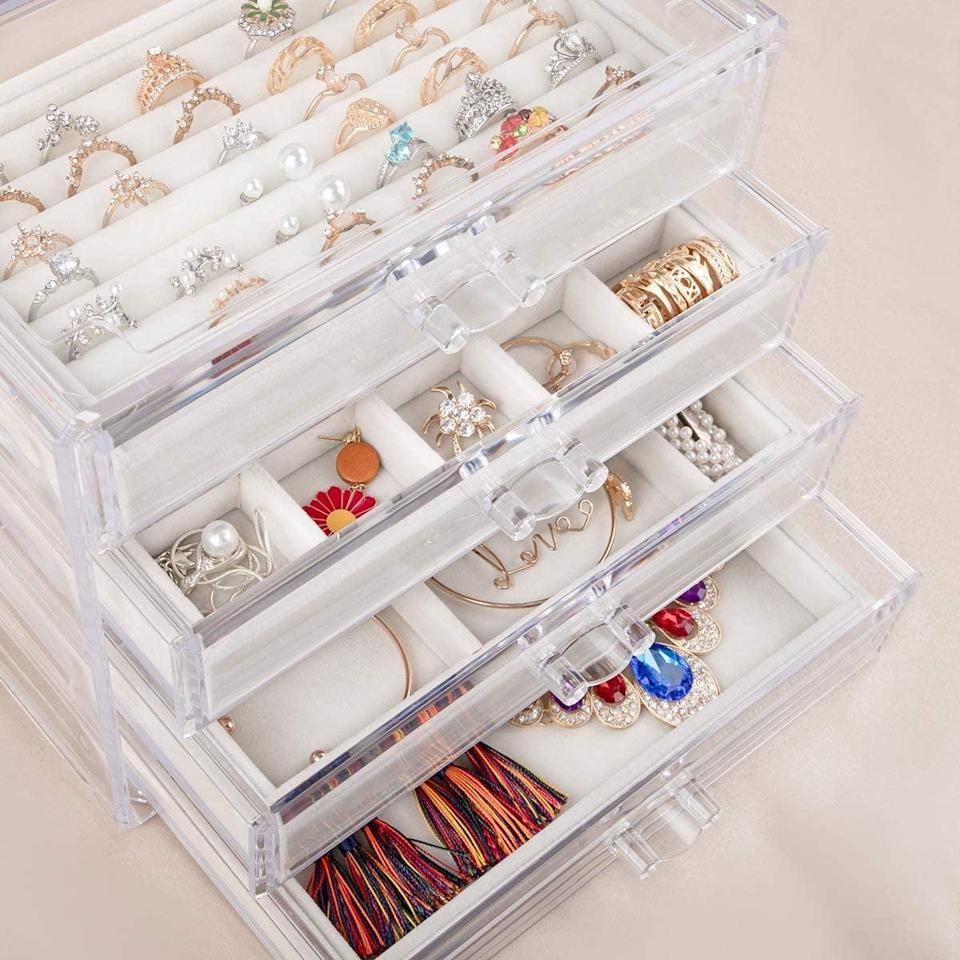 <p>Keep your jewelry organized while being able to see what you have with this <span>Mebbay Acrylic Jewelry Box With 4 Drawers</span> ($26).</p>