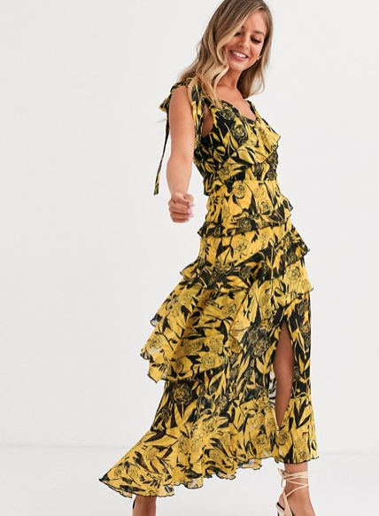 ASOS Dark Pink one shoulder midaxi dress in yellow black mixed print - $46.50 down from $156.00
