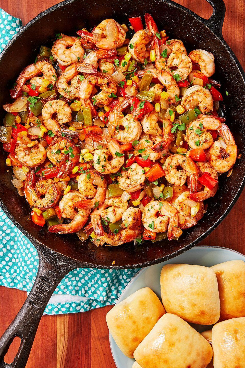 "<p>Spicy shrimp mixed with peppers, corn, and onion just speaks to us. </p><p>Get the recipe from <a href=""https://www.delish.com/cooking/recipe-ideas/recipes/a51607/cajun-shrimp-recipe/"" rel=""nofollow noopener"" target=""_blank"" data-ylk=""slk:Delish"" class=""link rapid-noclick-resp"">Delish</a>. </p>"
