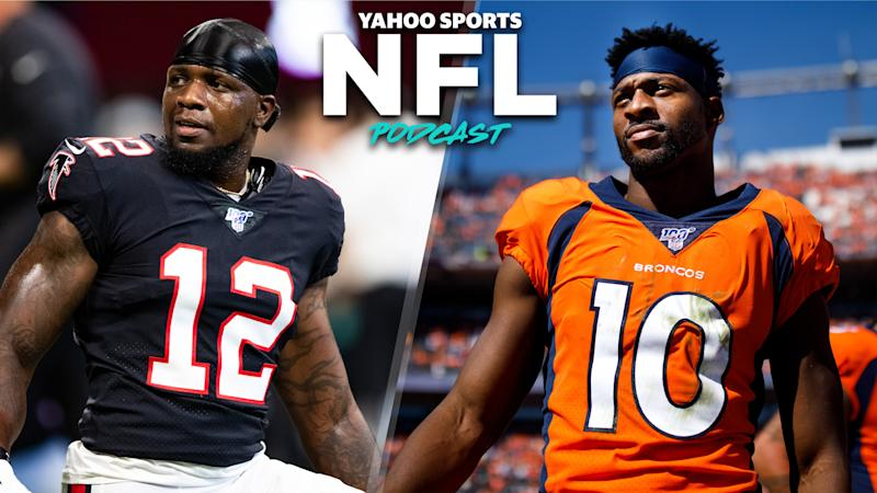 Terez Paylor & Charles Robinson discuss the pair of trades that sent Mohamed Sanu and Emmanuel Sanders to the New England Patriots and San Francisco 49ers, respectively. (Photo Credit L to R: Carmen Mandato/Getty Images; Justin Edmonds/Getty Images)