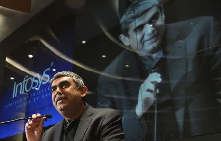 Newly appointed Infosys Chief Executive Officer Vishal Sikka speaks during a news conference at the company's headquarters in the southern Indian city of Bangalore