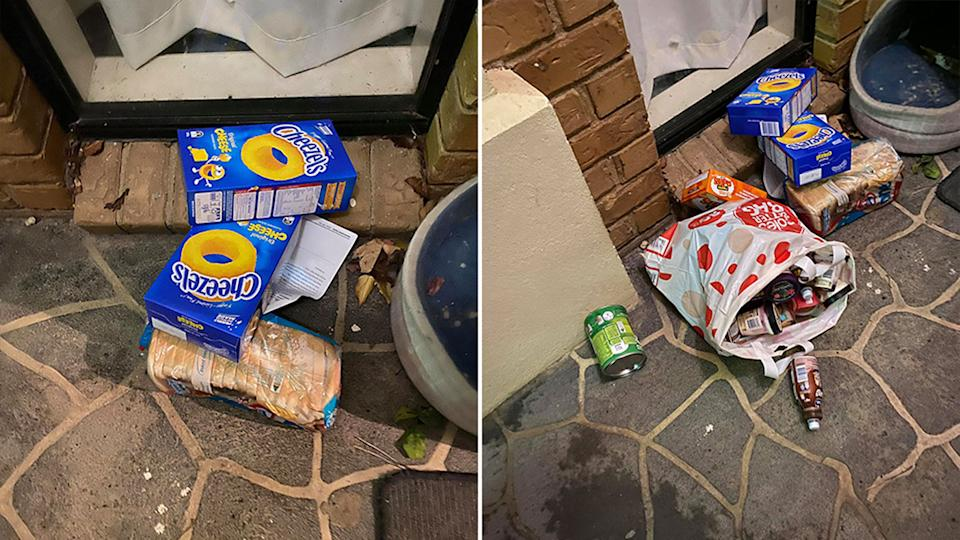The Coles customer said the way the groceries were left on the ground was