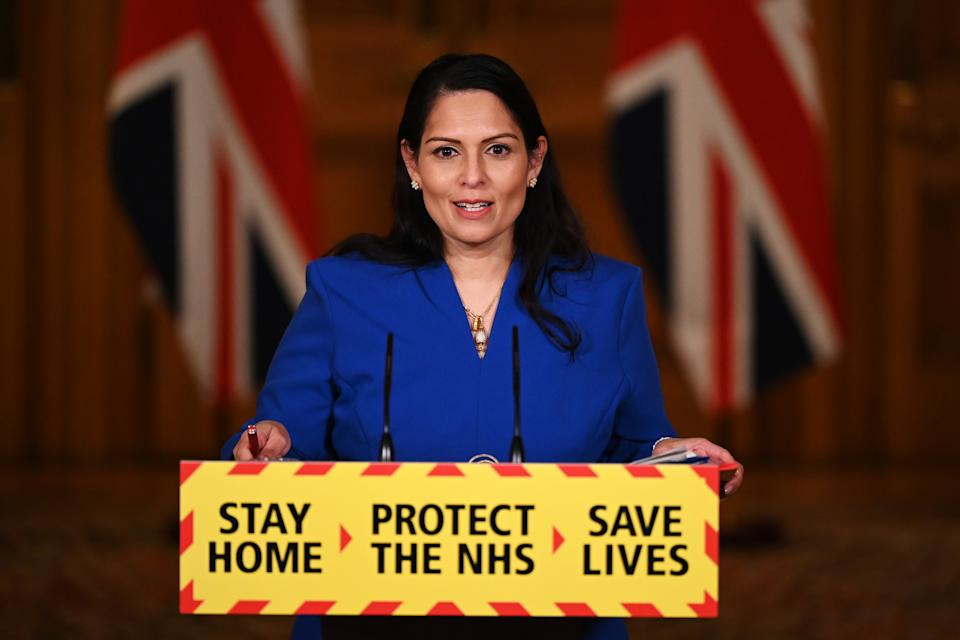 Priti Patel during a media briefing in Downing Street, London on WednesdayPA