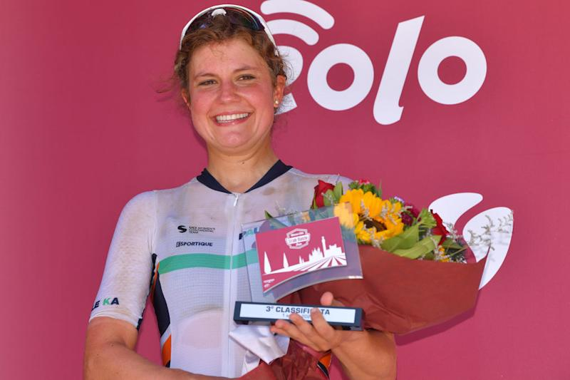 SIENA ITALY AUGUST 01 Podium Leah Thomas of The United Statesand Team Equipe Paule Ka Celebration Trophy Flowers during the Eroica 6th Strade Bianche 2020 Women Elite a 136km race from Siena to Siena Piazza del Campo StradeBianche on August 01 2020 in Siena Italy Photo by Luc ClaessenGetty Images