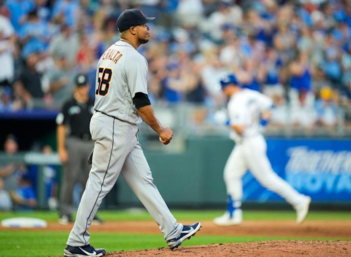 Tigers pitcher Wily Peralta reacts after giving up a home run to Royals right fielder Ryan O'Hearn during the fourth inning on Friday, July 23, 2021, in Kansas City, Missouri.