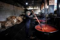 Today there are 60 women working at the 'Krusha' cooperative during the peak ajvar-making season