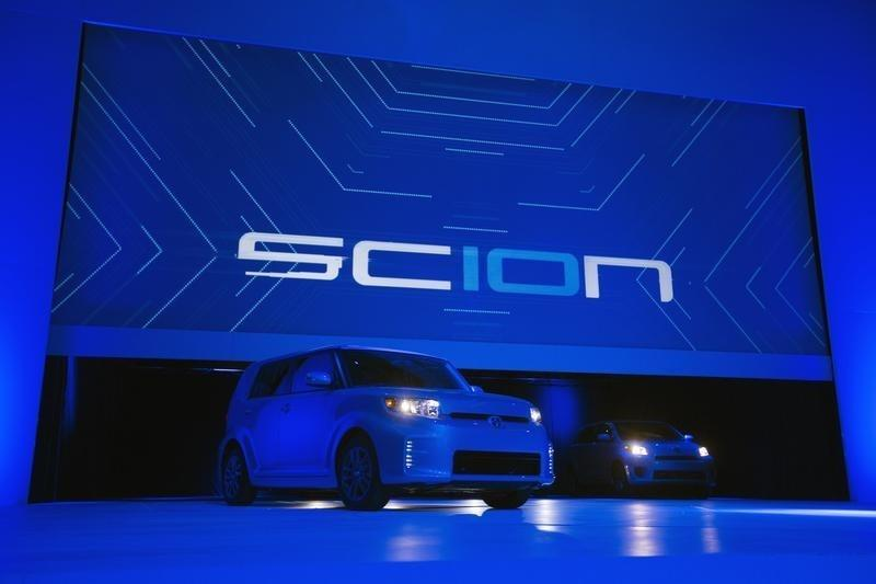 Special 10th anniversary editions of the Toyota Motor Corp. Scion vehicles are unveiled at the New York International Auto Show in New York