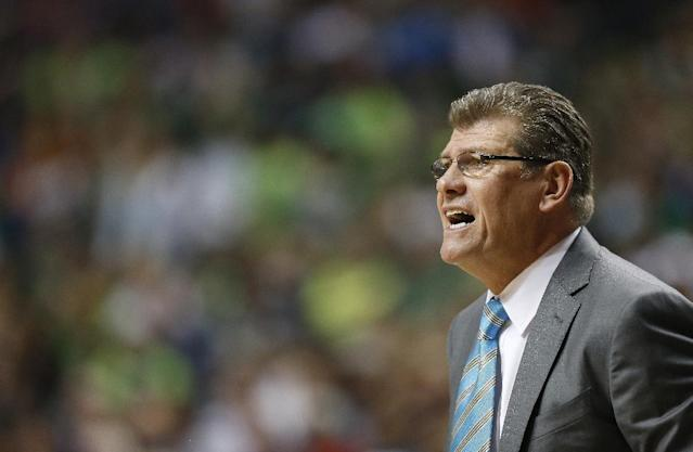 Connecticut head coach Geno Auriemma works against Notre Dame during the first half of the championship game in the Final Four of the NCAA women's college basketball tournament, Tuesday, April 8, 2014, in Nashville, Tenn. (AP Photo/John Bazemore)