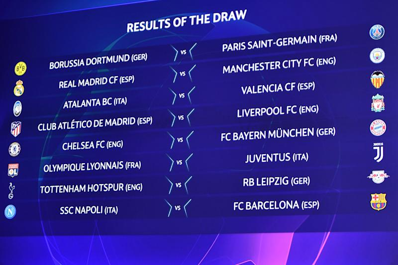 The results are displayed on a screen at the end of the UEFA Champions League football cup round of 16 draw ceremony on December 16, 2019 in Nyon. (Photo by Fabrice COFFRINI / AFP) (Photo by FABRICE COFFRINI/AFP via Getty Images)