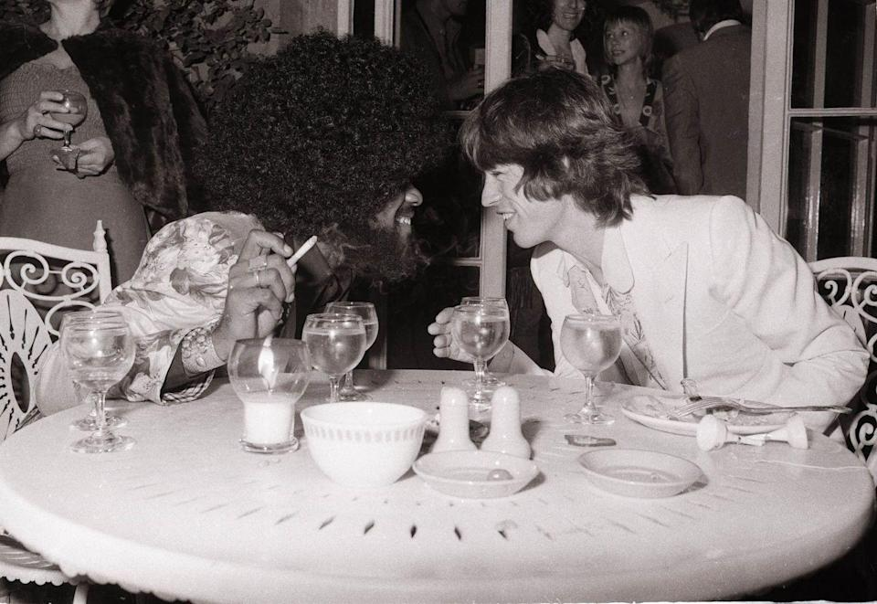 <p>Mick Jagger with Billy Preston at a promotional party for the band's album Goats Head Soup, Blenheim Palace, Oxfordshire on September 6, 1973.</p>