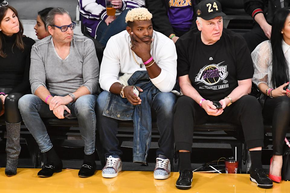Yasiel Puig attends a basketball game between the Los Angeles Lakers and the San Antonio Spurs at Staples Center on February 04, 2020 in Los Angeles, California.