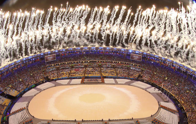 <p>Fireworks explode during the closing ceremony for the 2016 Rio Olympics on August 21, 2016. (REUTERS/Pawel Kopczynski) </p>
