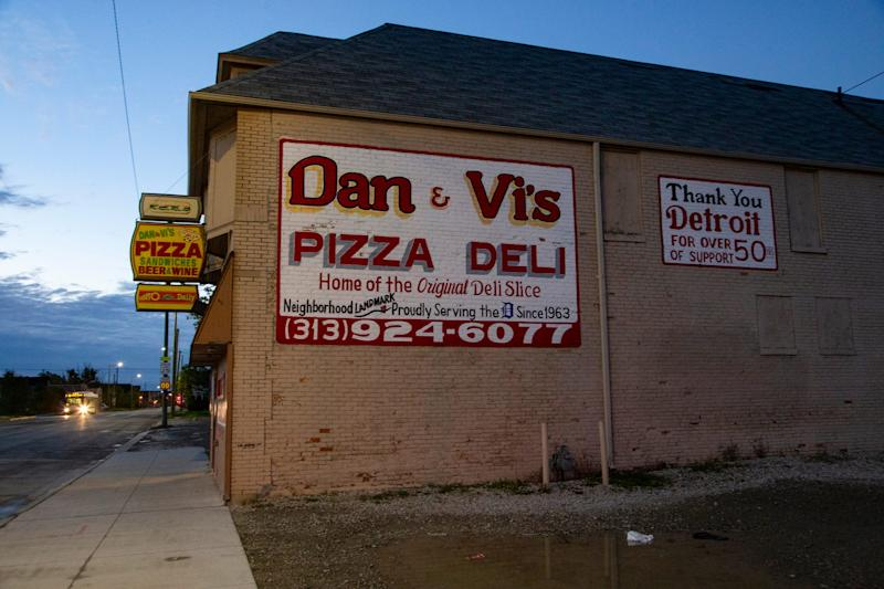 Dan and Vi's has been a staple on Chene as strikers picket outside of GM Detroit-Hamtramck Assembly Tuesday, Oct. 22, 2019.