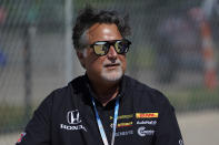 Michael Andretti looks on during practice for the IndyCar Detroit Grand Prix auto racing doubleheader on Belle Isle in Detroit, Friday, June 11, 2021. (AP Photo/Paul Sancya)