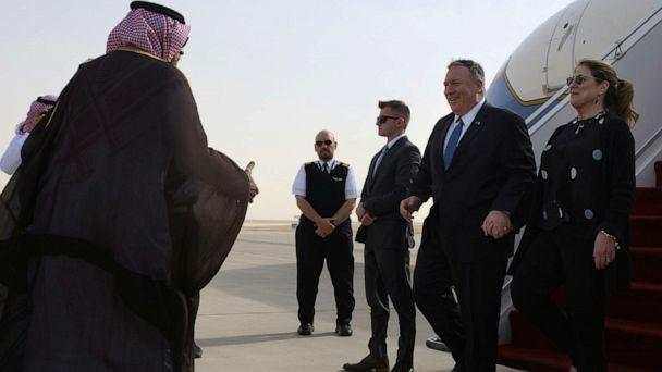 PHOTO: Secretary of State Mike Pompeo arrives at the King Khalid International Airport in the Saudi capital Riyadh, Feb. 19, 2020. (Andrew Caballero-Reynolds/Pool via Reuters)