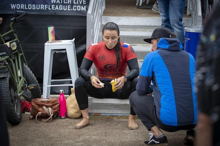 Johanne Defay rests after beating seven-time WSL champion Stephanie Gilmore