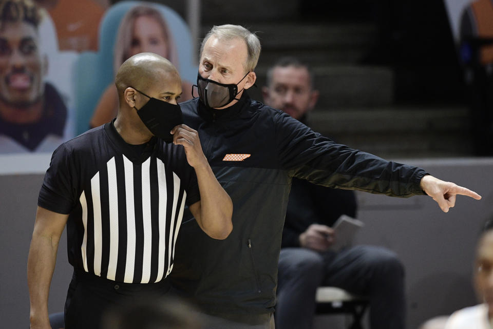 Tennessee coach Rick Barnes speaks to an official during the team's NCAA college basketball game against Missouri on Saturday, Jan. 23, 2021, in Knoxville, Tenn. (Calvin Mattheis/Knoxville New-Sentinel via AP, Pool)