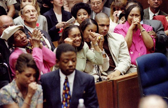 <p>The Simpson family, including his mother, Eunice, and oldest kids, Arnelle and Jason, react as O.J. Simpson is acquitted of killing Nicole Brown Simpson and Ronald Goldman. (Photo: Pool/Reuters) </p>